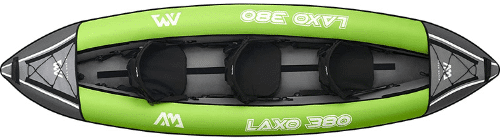 kayak inflable para tres personas, canoa inflable para 3 persona, piragua verde claro, triple
