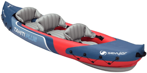 kayak inflable para tres personas, canoa inflable para 3 persona, piragua azul con rojo, triple